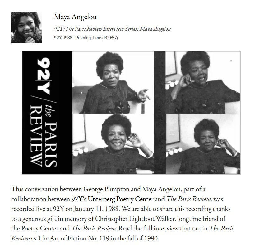 Maya Angelou interview by the Paris Review
